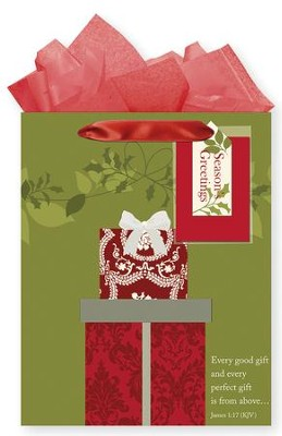 Wrapped Presents, Gift Bag with Tissue, James 1:17, Medium  -