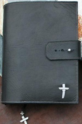 Leather Adjustable Bible Cover, Black, Extra Large  -