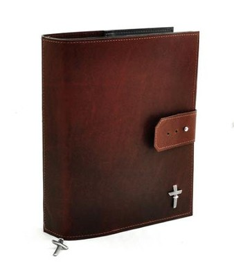 Leather Adjustable Bible Cover, Burgundy, Large  -