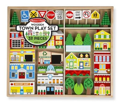 Wooden Town Accessory Set, 30+ pieces  -