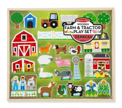 Wooden Farm & Tractor Play Set  -
