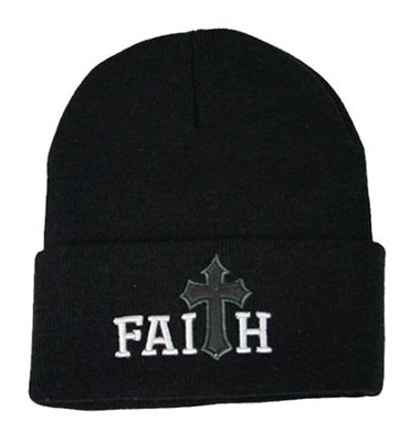 Faith, Faux Leather Cross, Beanie, Black  -