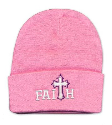 Faith, Faux Leather Cross, Beanie, Pink  -