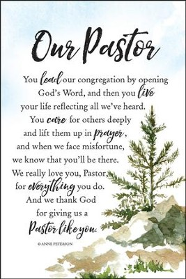 Our Pastor You Lead Our Congregation Plaque  -