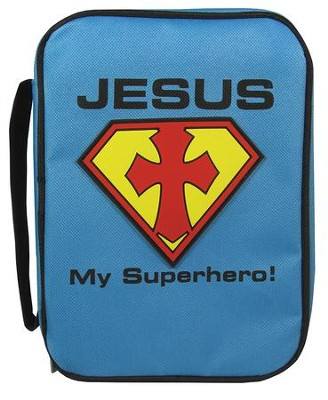 Jesus My Superhero Bible Cover, Blue, Medium  -
