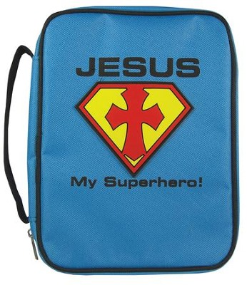Jesus My Superhero Bible Cover, Blue, Large  -
