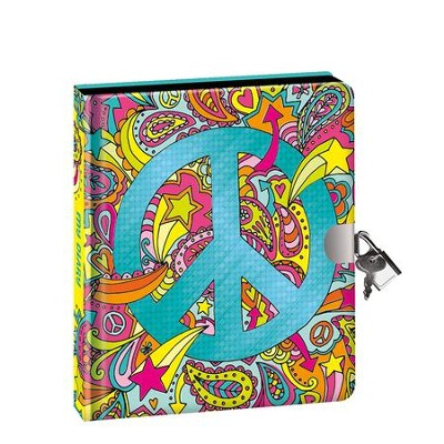 Peace Sign, Lock and Key Diary  -