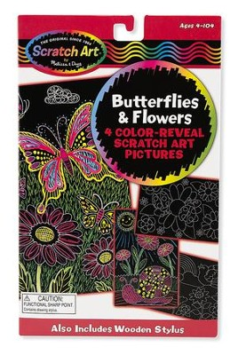 Scratch Art, Color Reveal Pictures, Butterflies and Flowers  -
