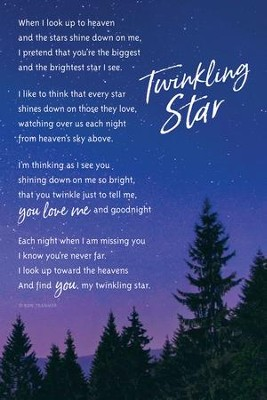 Twinkling Star, When I Look Up To Heaven Plaque  -