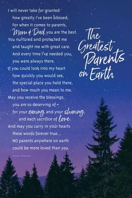 The Greatest Parents on Earth, I Will Never Take For Granted Plaque  -