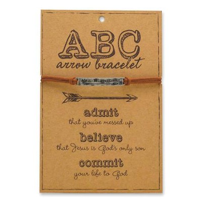 ABC, Admit, Believe, Commit, Arrow Bracelet, Silver  -