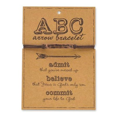 ABC, Admit, Believe, Commit, Arrow Bracelet, Copper  -