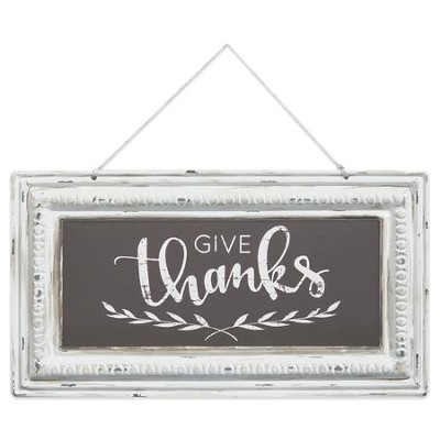Give Thanks Pressed Tin Sign  -