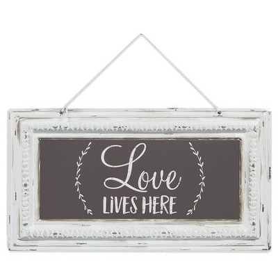 Love Lives Here Pressed Tin Sign  -
