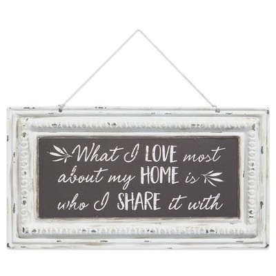 What I Love Most About My Home is Who I Share It With Pressed Tin Sign  -