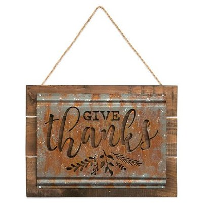 Give Thanks Acid Wash Sign  -