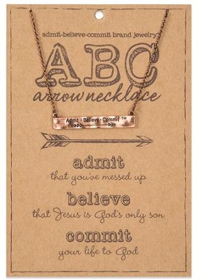 ABC, Admit, Believe, Commit, Arrow Necklace, Copper  -