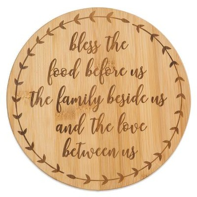 Bless The Food Before Us Bamboo Trivet  -