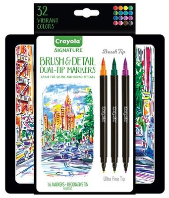 Crayola, Brush & Detail Dual-Ended Markers with Tin, 16 Pieces  -