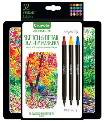 Crayola, Sketch & Detail Dual-Ended Markers with Tin, 16 Pieces  -