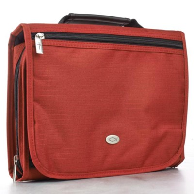 Polyester Three fold Bible Cover, Red, Medium  -