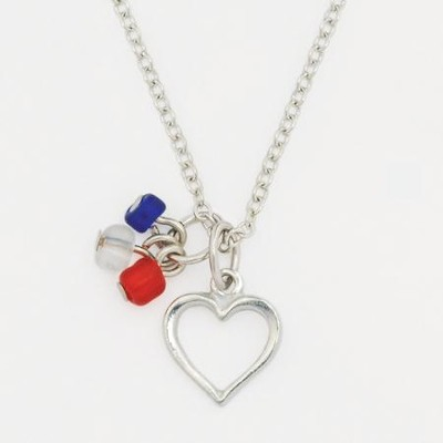 Heart with Red White and Blue Beads Necklace  -