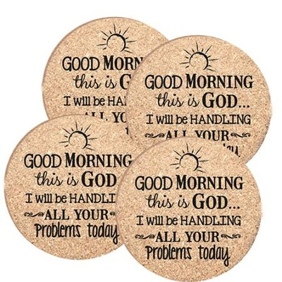 Good Morning, This Is God, Cork Coaster Set   -