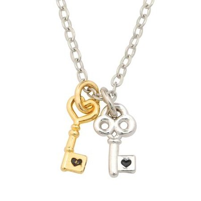 Two-one Mini Keys Pendant, Silver and Gold Plated   -