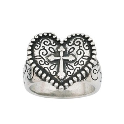 Heart Cross Ring, Medium  -