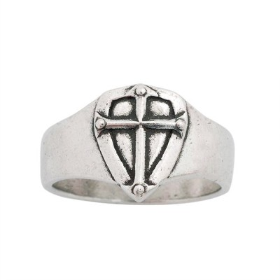 Cross Shield Men's Ring, Small  -