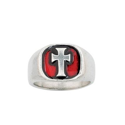 Signet Cross, Red, Men's Ring, Medium  -