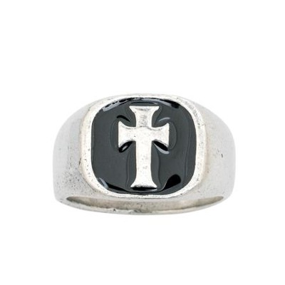 Signet Cross, Black, Men's Ring, Medium  -