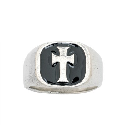 Signet Cross, Black, Men's Ring, Large  -