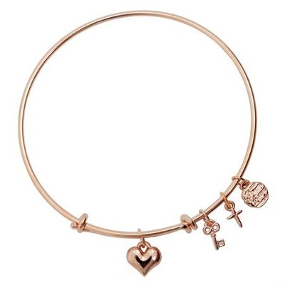 Puffy Heart Bangle Bracelet  -