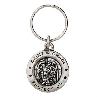 Saint Michael Pewter Key Ring  -     By: Bob Siemon