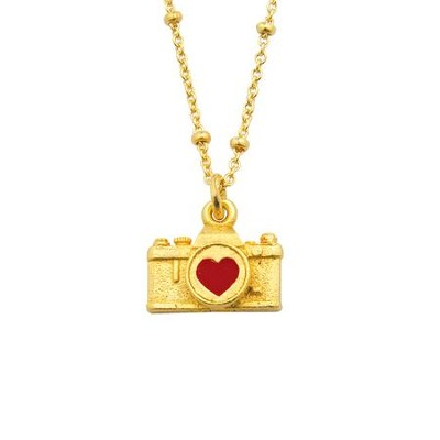 Camera with Heart Pendant, Gold Plated  -
