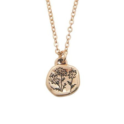 Flowers, Isaiah 40:8 Pendant, Rose Gold Plated  -