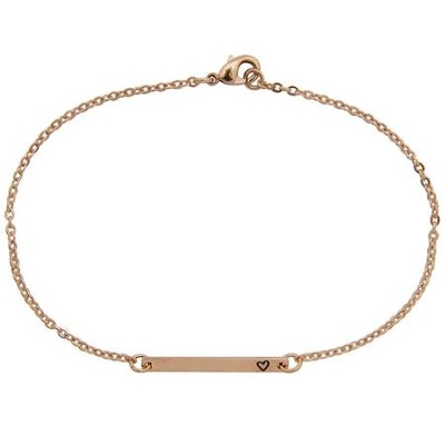 Heart I.D. Bracelet, Rose Gold Plated  -