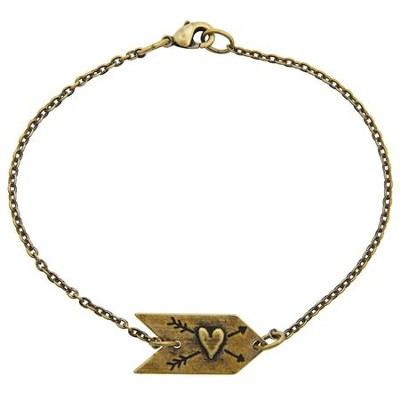 Heart Arrow Bracelet, Brass Plated  -