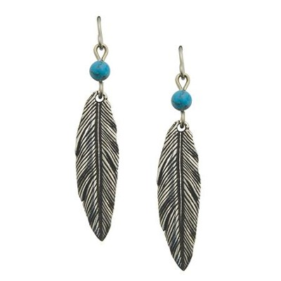 Feather Earrings, Turquoise, Pewter  -