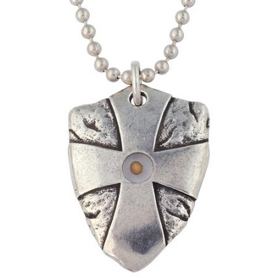 Pewter Pendant - Mustard Seed Shield  -     By: Bob Siemon