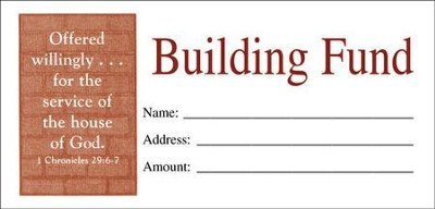Building Fund Envelopes, 4.25 inch x 2.5 inch, Small,  Package of 100  -