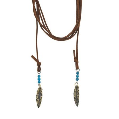 Brass Plated Wrap Necklace - Feathers/Turquoise  -     By: Bob Siemon