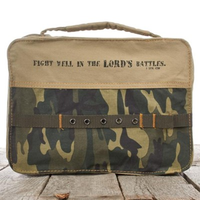 Fight Well In The Lord, Camo Bible Cover, Medium   -