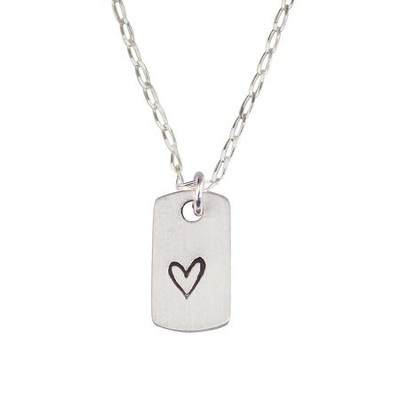Sterling Silver Pendant - Small Heart Tag  -     By: Bob Siemon