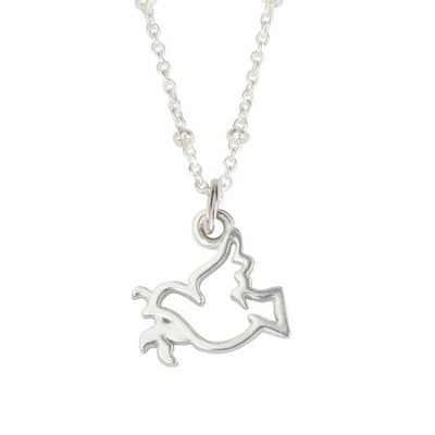 Pewter Pendant - Open Dove w/Olive Branch  -     By: Bob Siemon