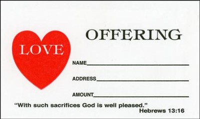 Love Offering Envelopes, Hebrews 13:16, 4.25 inch x 2.125  inch, Small, Package of 100  -