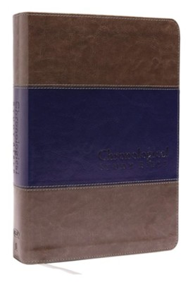 NKJV Chronological Study Bible--soft leather-look, rich stone/rich midnight  -