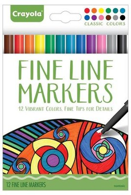Fine Line Markers, Classic Colors, Pack of 12  -
