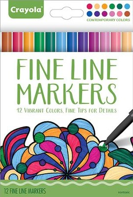 Fine Line Markers, Contemporary Colors, Pack of 12  -